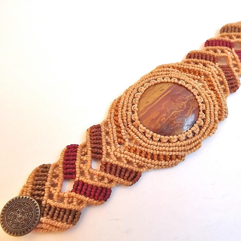 Macrame Bracelet Earth Toned Jasper