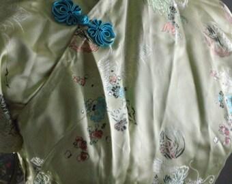 50s Custom Made Cheongsam Silk Satin Wiggle Dress
