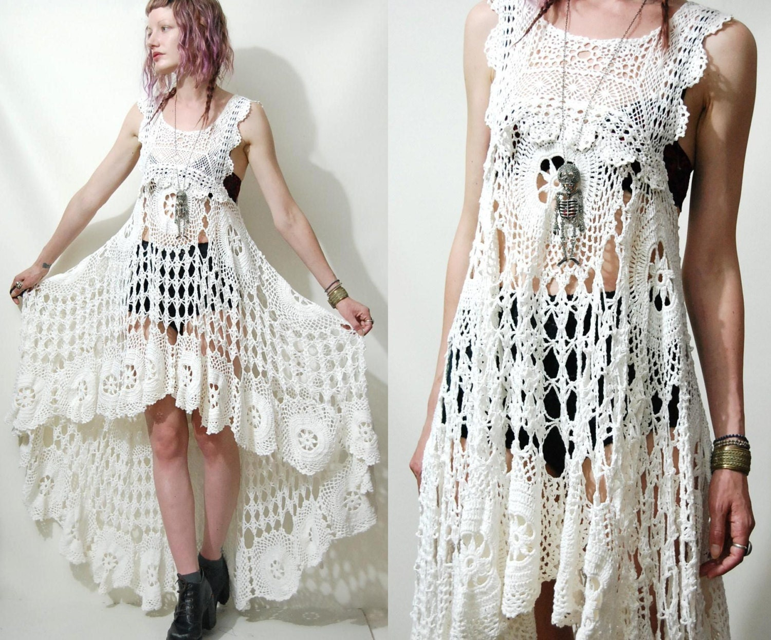 Crochet Stitches For Dresses : Crochet Dress VINTAGE LACE White Fishtail/Train by cruxandcrow