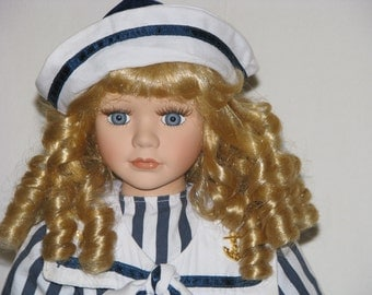 Collectible Memories Porcelain Doll Lauren Sailor Dress Stand Limited Edition