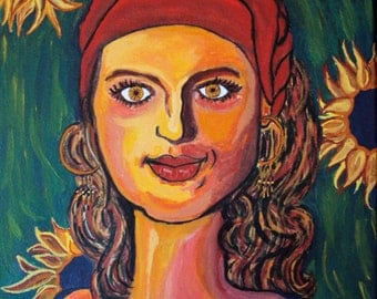 The Sunflower Queen - Colorful Bohemian Portrait - Gypsy Decor - 9 x 12 Contemporary Folk Art Painting - Yellow Green Red Gypsy Boho Decor