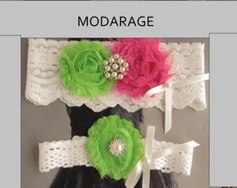 ON SALE Wedding Garters / Lace Garter / Lime Green / Hot Pink / Bridal Garter Set / Toss Garter / Vintage Inspired/Bridal garter