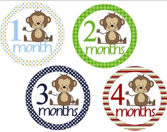 Baby Month Stickers Monkeys Monthly Stickers Baby Monthly Stickers Photo Stickers Baby Milestone Stickers Baby Shower Gift Boy Photo Prop