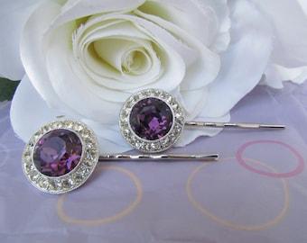 purple hair comb,purple rhinestone hair pins,purple bridal hair accessories,amethyst hair comb,purple wedding hair accessories,hair comb,