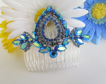 blue sapphire crystal bridal hair comb blue wedding hair comb bridal hair accessories royal blue rhinestone silver hair comb