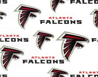 ATLANTA FALCONS    - Nfl Football  Fabric 1 Yard   Piece  WHITE  100% Cotton