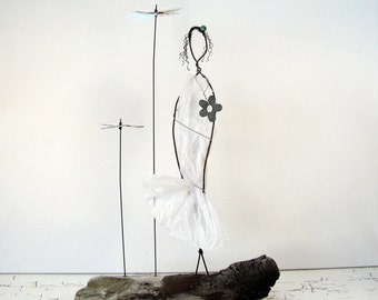 ON SALE Wire Sculpture Earth Angel - Rustic Wire Figure Art on Driftwood