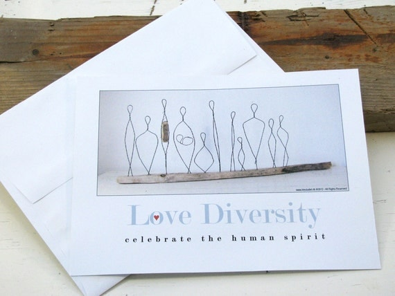 Greeting Cards - set of Four - Love Diversity  - Made from 100% recycled Cardstock - Eco-friendly Art Cards