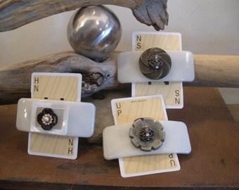 Set of 3 Vintage Button Barrettes