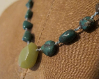 Turquoise and apatite hand knotted necklace