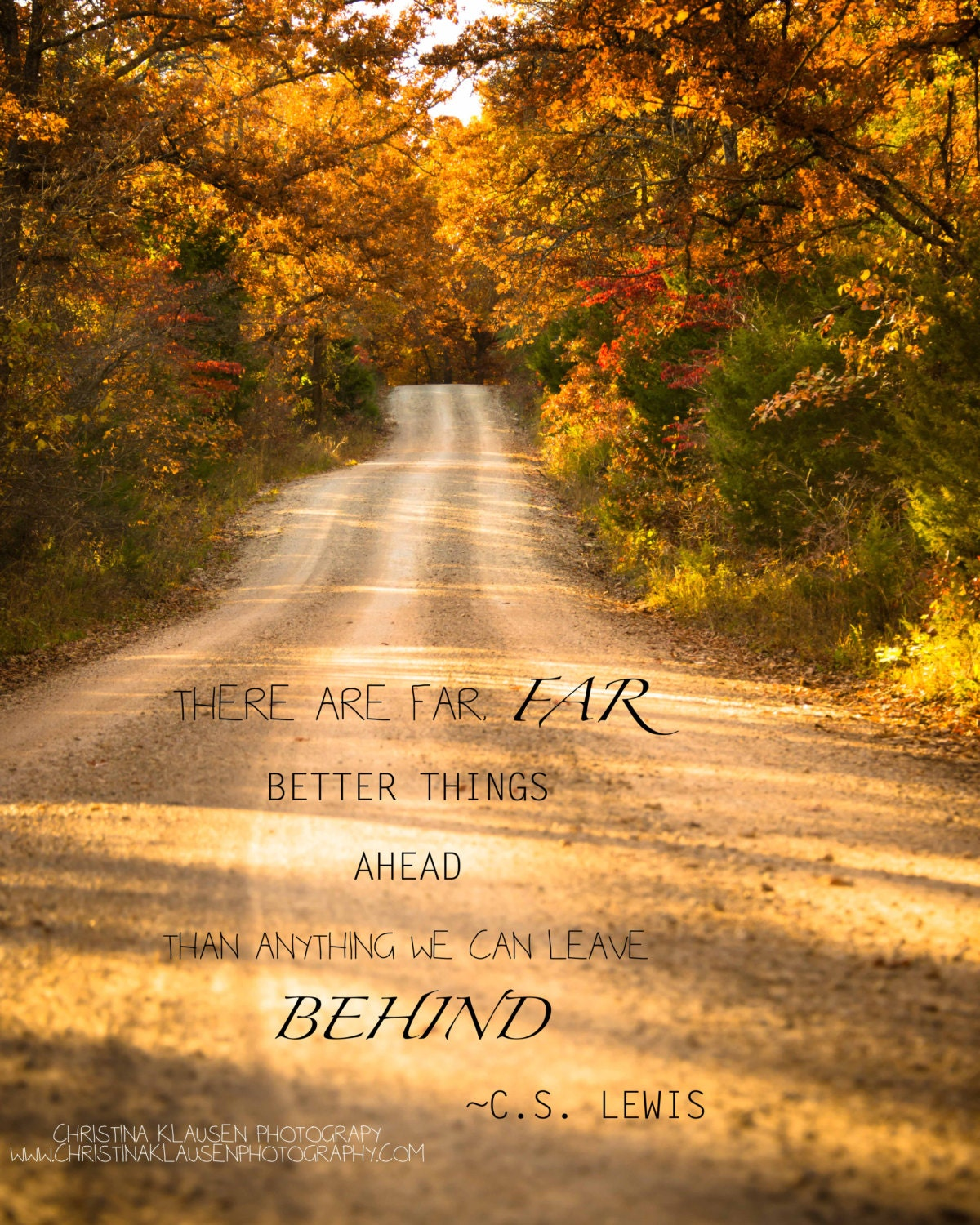 Spiritual Uplifting Quotes: Inspirational Quote Photo. C.S. Lewis Quote. Rustic Road
