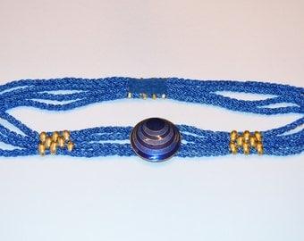 Women's Belt, Blue Belt, Ilis Vintage Women's Blue Belt, Ladies' Stretchy Belt