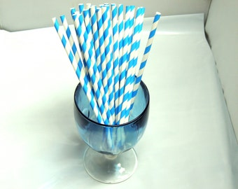 50 Pack Blue Striped Paper Straws, Party straws Blue and White Striped, Food Safe Paper Drinking Straws, Paper Party Shower Sip Sticks