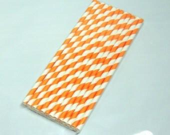 50 Pack Orange Striped Paper Straws,Party straws Orange & White Striped, Food Safe Paper Drinking Straws, Paper Party  Sip Sticks