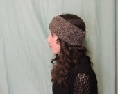 Wool Cabled Ear Warmer Headband in Maple Tweed