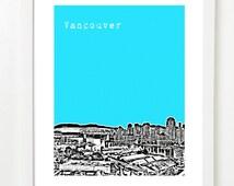 Vancouver Art Print - Granville Island, Yaletown, Burrard Street Bridge View - VERSION 3