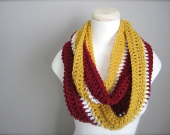 Crochet Red, White, and Gold NHL, Hockey, Football, Soccer, Sports Team Colors Infinity Scarf, Men's Scarf, Unisex Scarf