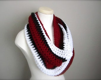 Crochet Red, White, and Black Carolina Hurricanes, Phoenix Coyotes, Detroit Red Wings  Infinity Scarf, Men's Scarf, Scarf