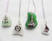 Sea glass necklace - nautical anchor, sailboat, lighthouse or ship's wheel - choice of colors
