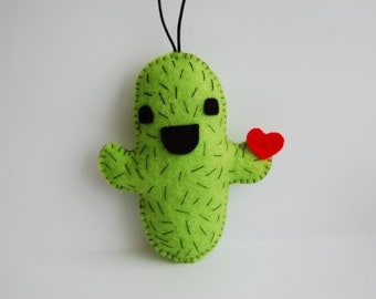 Happy cactus felt plushie cute charm ornament strap toy holding a heart or taco