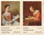 Letter Writing Postal Union Vintage USPS Postage Stamps, Sheet of 10