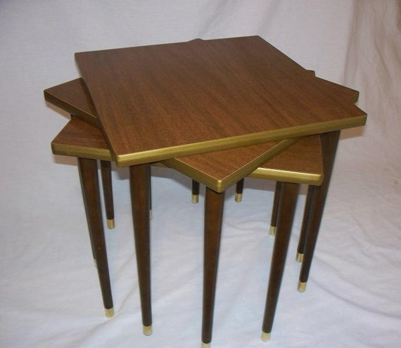 Stackable Nesting Tables ~ Vintage mid century nesting stacking tables