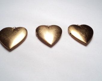 3 pcs - 28mm brass Heart Lockets - m235