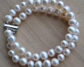 pearl bracelet,wedding bracelet,double strand 7.5'' 7-8mm ivory freshwater pearl bracelet, jewelry,2 row pearl bracelet,bridesmaid bracelet