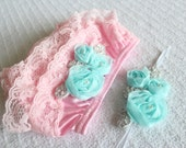 Couture Light Pink Blue Lace Ruffle Bloomer with matching headband. Newborn to 9m
