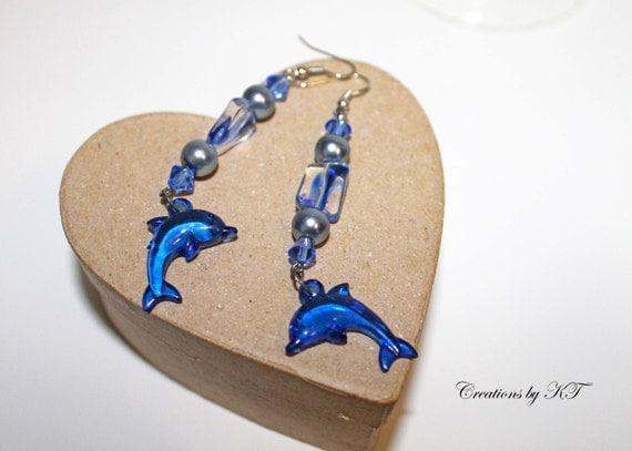 Blue Dolphin Earrings Dangle Beaded Sea Life