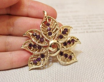 Vintage Purple Rhinestones Brooch by Coro