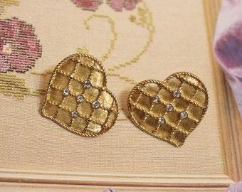 Vintage Gold Heart Rhinestone Earrings