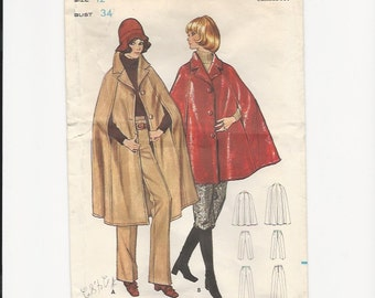 Vintage Sewing Pattern Butterick 5929 for Cape and Pants, Sz12, 1970s