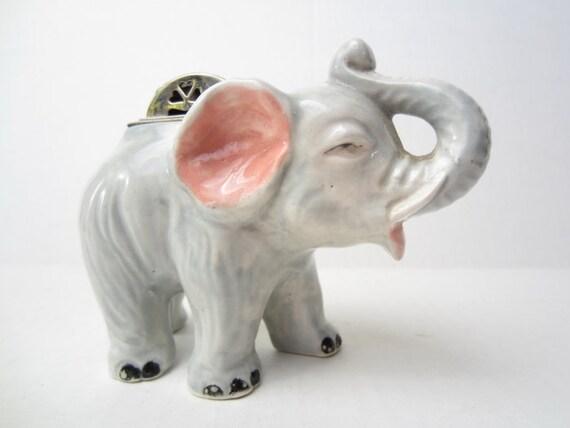 Vintage Elephant Lighter // Elephant // Pottery Elephant Lighter // Elephants // Cigarette Lighter