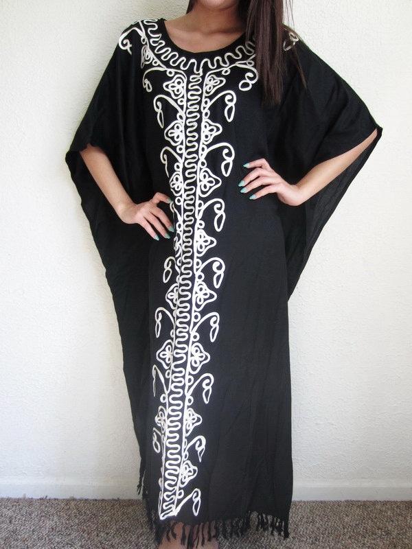 Vintage Black Moo Moo Dress With White Detail Vintage