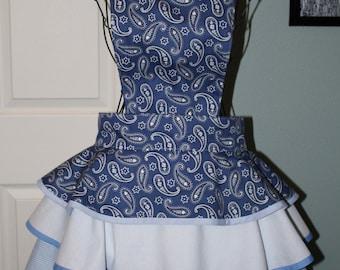 Denim Blue Paisley bandana Retro Apron with white and blue gingham