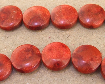 "Coin Shape Red Sponge Coral Beads --- 16mm --- 25 beads --- 15.5"" in length Full strand --- Coin Coral Beads"