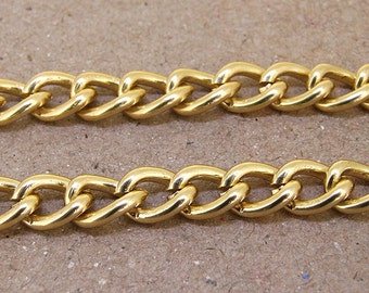 Charm Oval Twist Gold Plated Metalic Aluminium Chunky Curb Chain ----- 8mmx 10mm---thickness about 2mm----38""