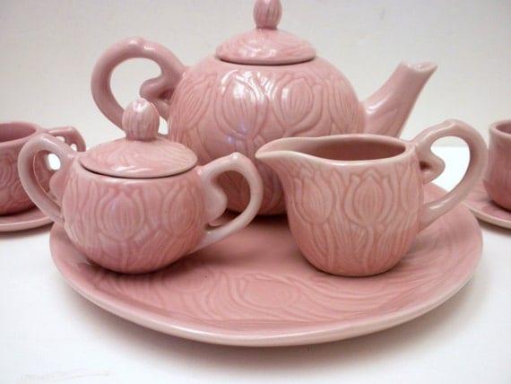 Tea Set Little Girls Pink 10 Piece Ceramic Tea Set By