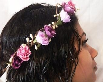 Woodland flower hair wreath (purple rose) - Wedding headpiece, headband, vintage inspired rose crown boho bridal