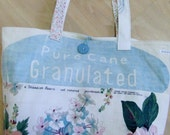 Pure cane sugar granulated sugar sack, barkcloth, vintage button, pink, blue, green,beige tote bag