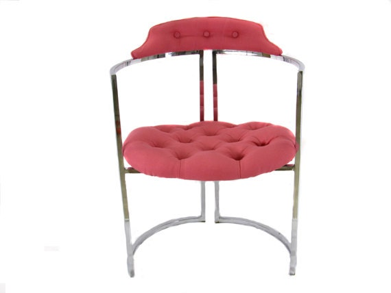 Vintage Chrome and Hot Pink Tufted Chair