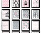 Pink Greys Bird Cage Prints Vintage Modern Art Print  -  (3) 8 x 10 Unframed Art Print, Custom Colors Sizes Available