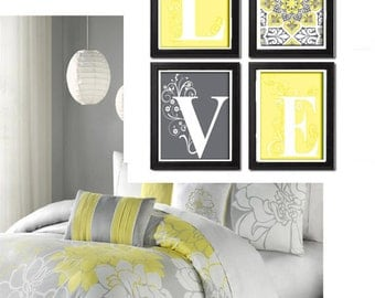 Home Decor Digital Love Lt. Yellow Greys White Wall Art Vintage / Modern Inspired -Set of 4 - 8x10 Prints -  (UNFRAMED)