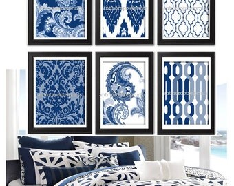 Navy White Paisley Vintage / Modern inspired Art Prints Collection  -Set of (6) - 8 x 10 Prints - Featured in Navy White  (UNFRAMED)