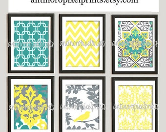 Ikat Damask Print Wall Art Yellow Teal Grey Modern inspired Wall Art -Set of 6 - 8x10 Prints -   (UNFRAMED)