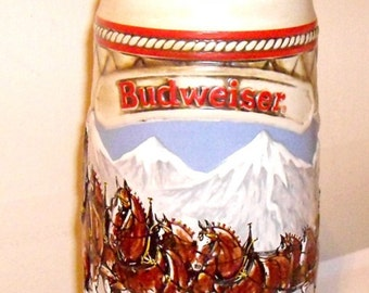 Vintage barware Budweiser Beer Stein, 1985 Clydesdales, Limited Edition Collectible Mug, Anheuser-Busch, Man Cave decor, horses beer mug