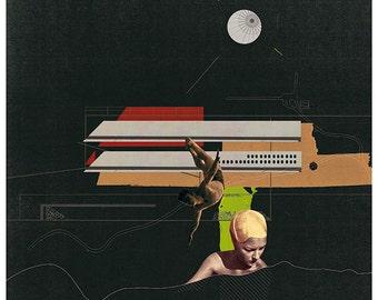 night swimming - art print- mixed media digital collage