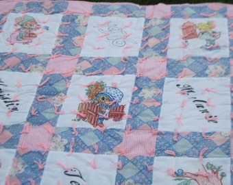 Darling Pink and White hand Tied Quilt 1976 with Little Girls On it Sweet Full Size