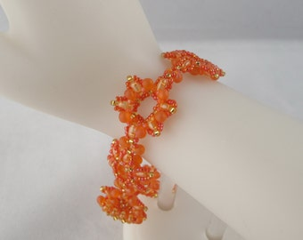 Orange Flowers Woven Bracelet with Self-Toggle Clasp